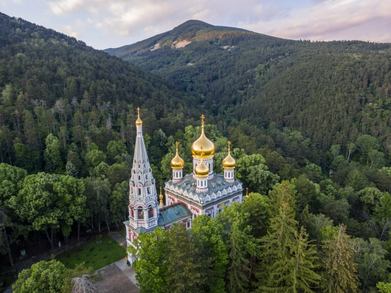 Aerial view of the memorial church Birth of Christ near Shipka, Bulgaria.