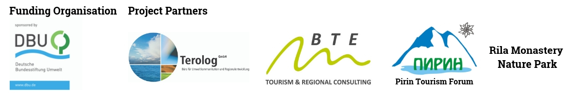 Funding orgdanisaion DBU and Project Partners: Terolog GmbH, BTE Tourism & Regional Consulting, Pirin Touris Forum and Rila Monastery Nature Park