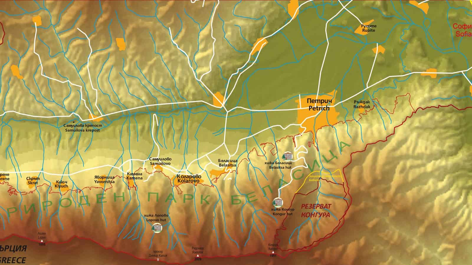 Map of Belasitsa Nature Park