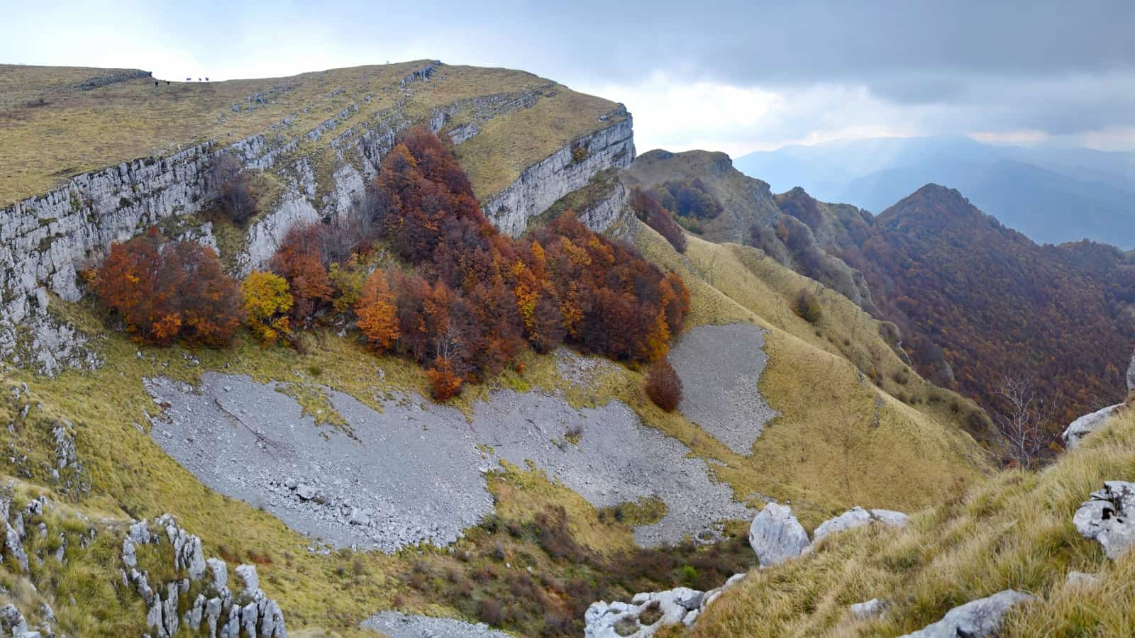 Autumn beeches below the ridge of Mare walls - Panorama view of Vrachanski Balkan Nature Park- photo: Vrachanski Balkan Nature Park/Krasimir Lakovski